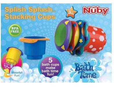 Game / Play Nuby Splish Splash Stacking Cups 5-Pack, bathtime, splsh, splash, speed, stacking, cups Toy / Child / Kid