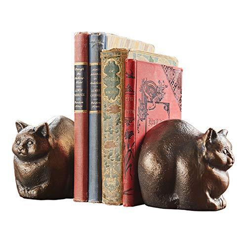 ART & ARTIFACT Chubby Cat Sculpture/Bookend - Iron Statue with Bronze Finish