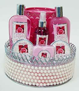 Morgan Avery Bath and Body Pearl Basket Gift Set, Rose