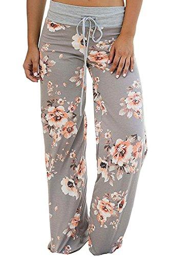Imprime Harem Minetom Mode Trousers Palazzo 03 Sarouel Clair Taille Stretch Haute  Été Gris Floral Elastique Femme Longue Pantalons Pants Casual ... c47e024548c
