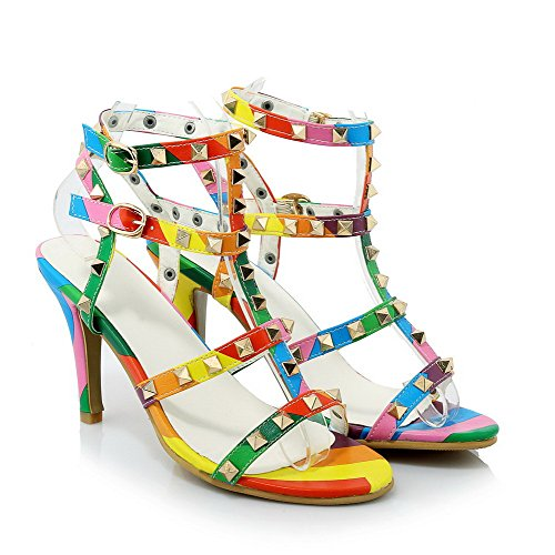 Amoonyfashion Donna Fibbia Spillo Stiletto Pu Solido Sandali Open Toe Multicolore