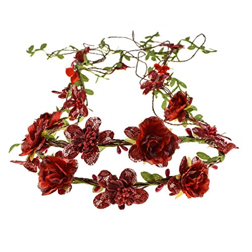 Floral Fall Adjustable Bridal Flower Garland Headband Flower Crown Hair Wreath Halo F-83 (Style 2 Red)