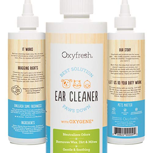 Advanced Pet Ear Cleaner with Oxygene by Oxyfresh, 8 oz. - Gentle and Safe - No Rinsing Required - Non-Irritating - Fresh Clean Ears - Made in the - Cleaning Ear Gentle Lotion