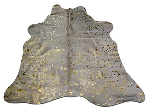 5 X 5 feet Offwhite cowhide rug with gold metallic devore by cowhidesusa