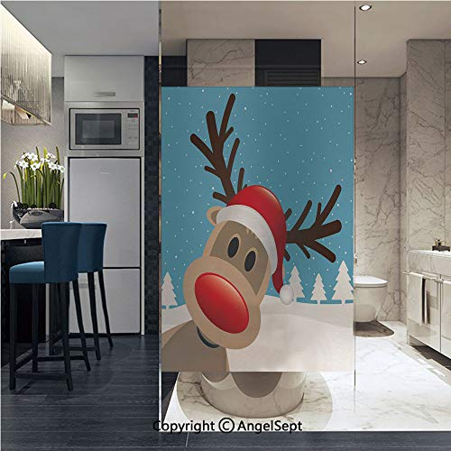 AngelSept Window Films Privacy Glass Sticker Reindeer Rudolph with Red Nose and Santa Claus Hat Snowy Forest Decorative Static Heat Control Anti UV 22.8In by 35.4In,Light Blue Red Light Brown -