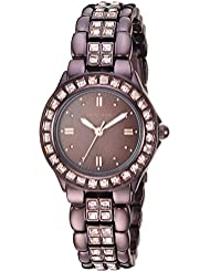Armitron Womens 75/3689BMIB Swarovski Crystal Accented Brown Ion-Plated Bracelet Watch