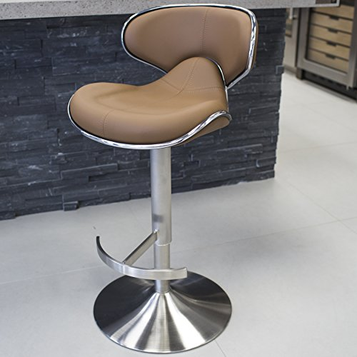 Mix Brushed Stainless Steel Faux Leather Camel Adjustable Height Swivel Bar Stool with Round Trumpet Base