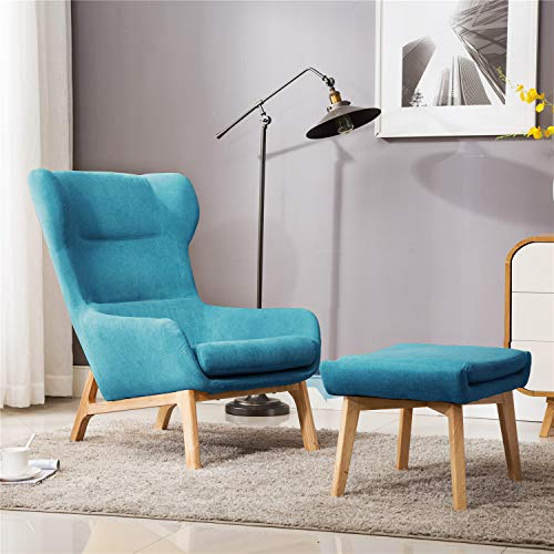 Bedroom Accent - Irene House Contemporary Velvet Fabric Height Back Accent Chair,Living Room,Bedroom Arm Chair (Blue with Ottoman)