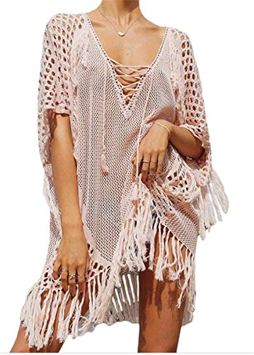 Qicool Womens Sexy Lace Bathing Suit Handmade Crochet Tassel Bikini Cover Up Swimwear Summer Beach Tops Dress