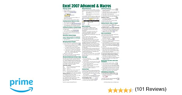 Microsoft Excel 2007 Advanced & Macros Quick Reference Guide ...