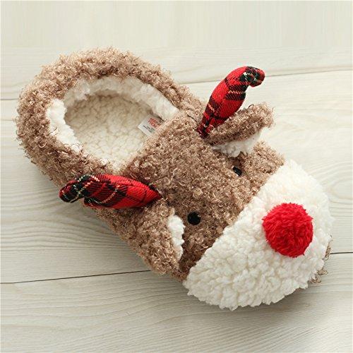 Automne d'intérieur Lumanuby Paire Cadeaux confortable Slippers Noël Peluche Soft chaud Pantoufles et 39 Hiver glissades 1 Chaussons Pantoufles Doux pour Anti de XUAwFq