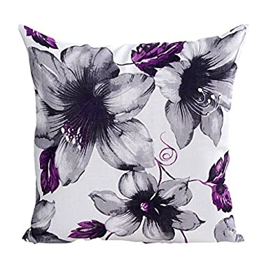 LAZAYASAM Printed Rose Cover Pillows Case Soft Throw Pillow Pillowcase Square 4545cm,Purple