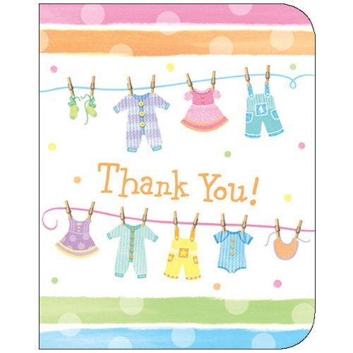 Baby Shower Clothes - Thank You Cards - 8/pkg -