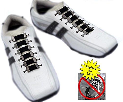No Tie Shoelaces - Best Durable Elastic Shoelace Replacement – For Kids, Seniors, Athletes - White & Black - Men, Women, Boys, Girls & The Elderly (Black Bands w/ Gun - Ideas Girls Costume Mean