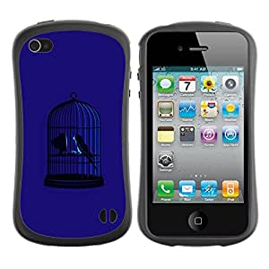 Fuerte Suave TPU GEL Caso Carcasa de Protección Funda para Apple Iphone 4 / 4S / Business Style Blue Bird Cage Freedom Metaphor Deep
