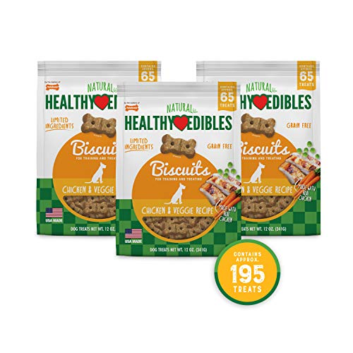 Nylabone Healthy Edibles Biscuits Chicken & Veggie | 195 Ct, Brown, 195 Treats
