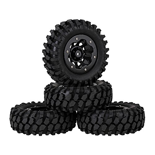 (Mxfans Black RC 1:10 Rock Crawler Gravel Pattern Rubber Tire & Plastic 10 Holes Wheel Rim with Alloy Beadlock Pack of 4)