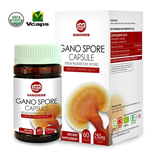 GANOHERB Organic Ganoderma Lucidum Reishi Mushroom Lingzhi Spore Capsules with High Potency Polysaccharide Triterpenes, NON-GMO Gluten Free Herbal Detox Supplements,60 Vegan Immume Health