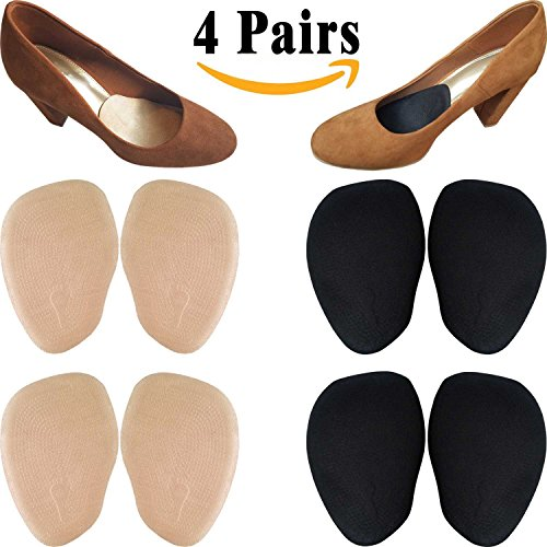 Chiroplax High Heel Pads (4 Pairs) Suade Leather Forefoot & Ball of Foot Cushion, Anti Slip Inserts Insoles for Women (Beige & Black) (Slip High Heel)