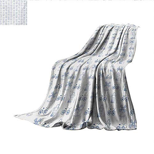 "Bicycle Weave Pattern Blanket Dutch Ornament Drawings in Blue Windmill Narrow House Bicycle Topiary Tree Summer Quilt Comforter 60""x50"" White Night Blue"