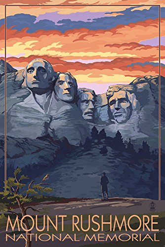Mount Rushmore National Memorial, South Dakota - Sunset View (9x12 Art Print, Wall Decor Travel Poster) from Lantern Press