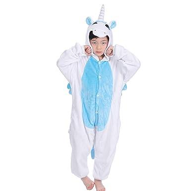 b91b3ac7d6 LUOEM Disfraz Unicornio Niño Kigurumi Pijama Unicornio Entero Disfraz  Animale Niña Flanela Azul  Amazon.es  Ropa y accesorios