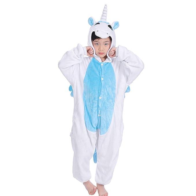 LUOEM Disfraz Unicornio Niño Kigurumi Pijama Unicornio Entero Disfraz Animale Niña Flanela Azul