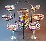 Mexican Margarita Glasses and Pitcher Set, Red White Swirl, Candy Cane Design w/ display stand (6) st8