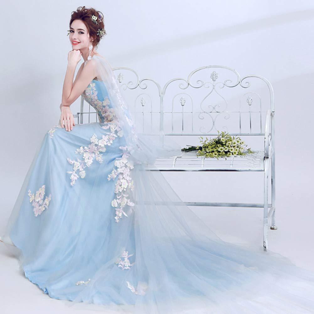 QAQBDBCKL Hellblau Stickerei Karneval Kleid Frauen Mittelalterliche Renaissance-Kleid-Kleid Königin Cosplay Partei Kostüm Royal  M