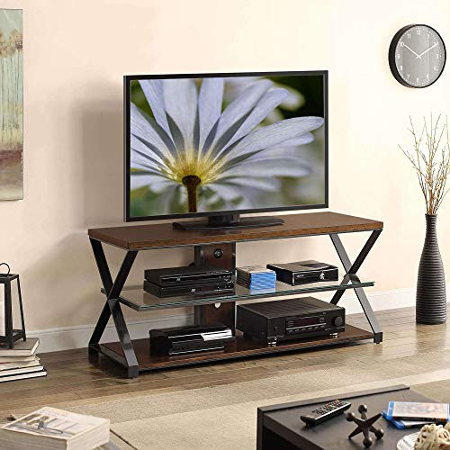 (Garden FL TV Stand Console 3 in 1 Storage Media 70 inch Glass Shelves Wall Mount Tabletop Swivel Mount TV Cabinet Living Room Furniture Video Games Entertainment Center Brown)