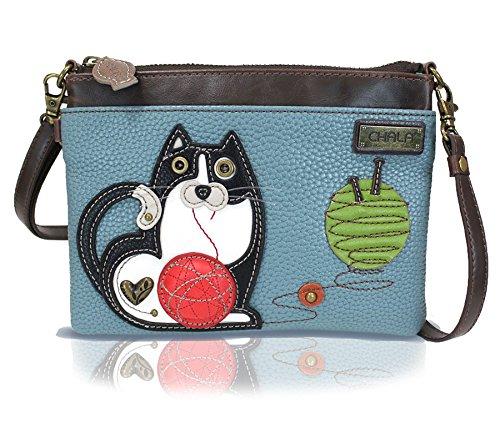 Chala Mini Crossbody Handbag, Multi Zipper, Pu Leather, Small Shoulder Purse Adjustable Strap - Fat Cat - BlueGray