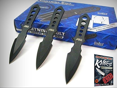UNITED Cutlery Black LIGHTNING BOLT Throwing Knife Set + Shoulder Harness UC2904 + free eBook by ProTactical'US