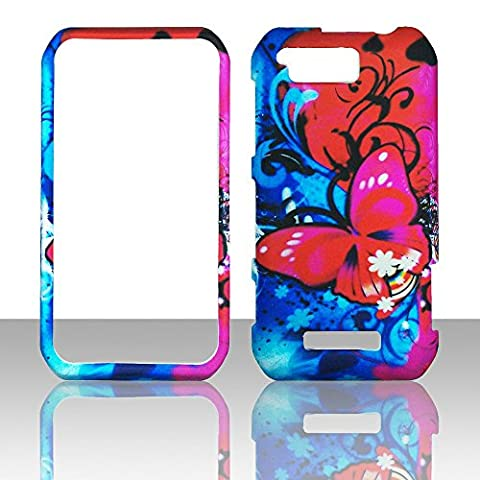 2D Pk Red Butterfly Motorola Photon Q LTE XT897 Sprint Case Cover Phone Snap on Cover Case (Motorola Phone Q)