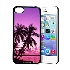 Shawnex Tropical Palm Trees Sunset Beach iPhone 5C Case - Thin Shell Plastic Protective Case iPhone 5C Case