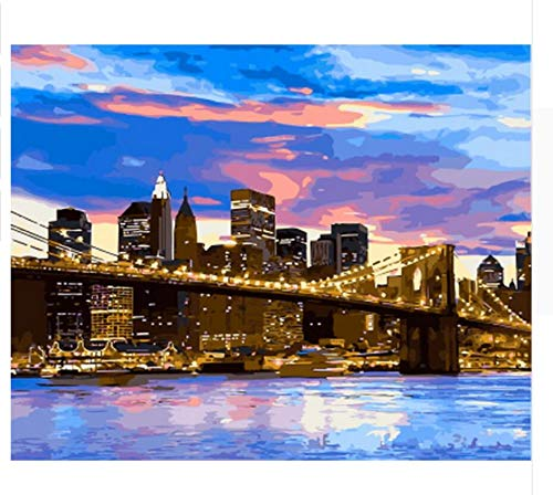(QIANDONG1 Painting by Numbers Paint by Number for Home Decor Canvas Painting Brooklyn)