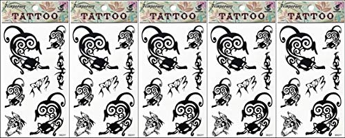 PP TATTOO 5 Sheets Beautiful Tattoos Temporary Tattoo Body Art 3D Black Cat Kitten Crescent Moon Cat Halloween Tattoo Sticker for Man Women Fake Tattoos Fashionable -