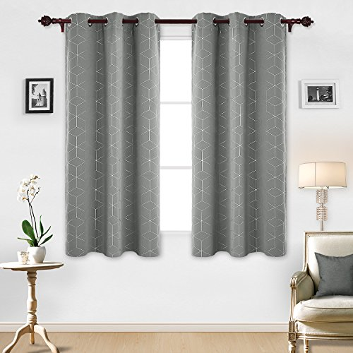 Deconovo Sliver Diamond Foil Print Blackout Curtains Room Darkening Thermal Insulated Curtain Panels Grommet for Living Room Light Grey 42x63 Inch 2 Panels