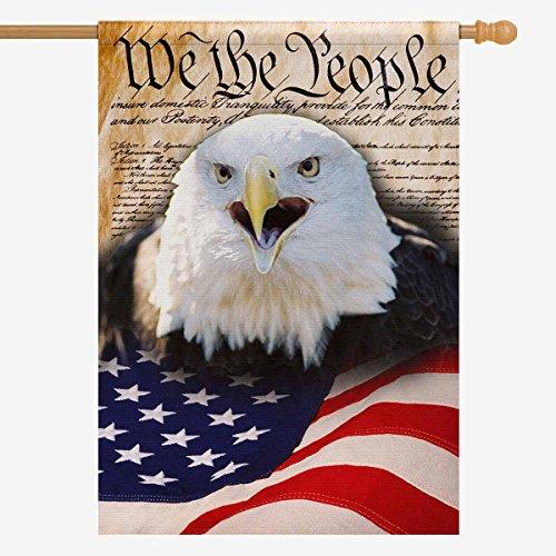 InterestPrint American flag Polyester Garden Flag Outdoor Ba