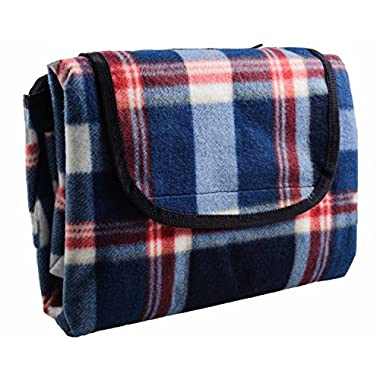 HS Water Resistant All Purpose, Extra Large Outdoor Blanket, 73 by 80-Inch, Blue Plaid