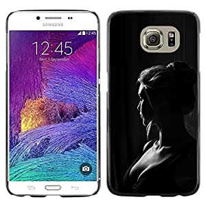 LECELL--Funda protectora / Cubierta / Piel For Samsung Galaxy S6 SM-G920 -- Girl Woman Black White Portrait --