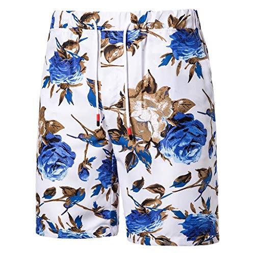 NEEKEY Men's Sport Shorts Summer Printed Beach Comfortable Short with Elastic Waist Plus Size Blue