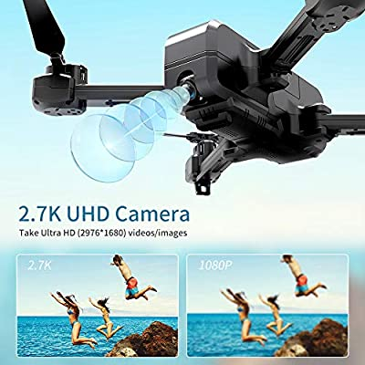 SNAPTAIN SP510 2.7K GPS Foldable Drone with Camera for Adults UHD Live Video RC Quadcopter for Beginners with GPS, Follow Me, Pt. of Interest, Waypoints, Long Control Range, Auto Return