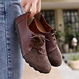 Kauneus Women's Leather Loafers Comfy Slip-on Shoes Casual Strap Flats Shoes Breathable Driving Shoes