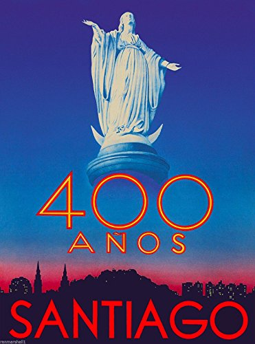 Santiago Chile Virgin Mary South America Vintage Travel Advertisement Poster