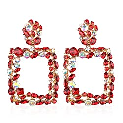 Red Crystal Stone Rhinestone Statement Earring