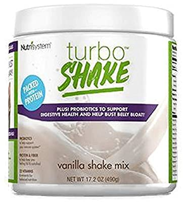 NUTRISYSTEM TURBO SHAKE (Protein + Probiotics) VANILLA SHAKE MIX 17.2OZ - 14 Servings - Support Digestive Health & Help Bust Belly Bloat