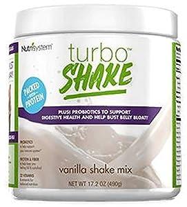 NUTRISYSTEM TURBO SHAKE (Protein + Probiotics) VANILLA SHAKE MIX 17.2OZ - 14 Servings - Support Digestive Health & Help Bust Belly Bloat