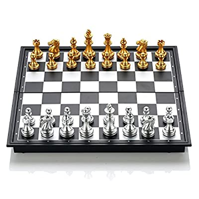 GZNIGHT Folding Magnetic Travel Chess Set Portable Board Game Toy Pieces with Storage for Travel Outdoor Indoor for Kids or Adults 9.8 X 9.8 X 0.8 inch (Gold & Silver Chess Pieces)