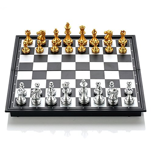 GZNIGHT Folding Magnetic Travel Chess Set Portable Board Game Toy Pieces with Storage for Travel Outdoor Indoor for Kids or Adults 9.8 X 9.8 X 0.8 inch (Gold & Silver Chess Pieces) by GZNIGHT