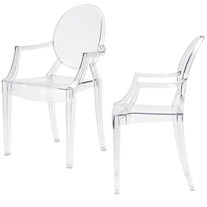 Sensational Amazon Com Clear Acrylic Chair With Arms Set Of 2 See Spiritservingveterans Wood Chair Design Ideas Spiritservingveteransorg